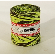 RAPHIA SYNTHETIQUE BICOLORE VERT - CHOCOLAT 15 MM X 200 M