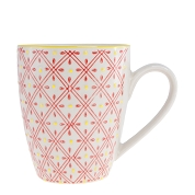 MUG LOSANGES ROUGE RELIEF JAUNE