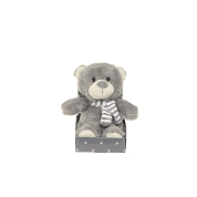 PELUCHE OURS GRIS ECHARPE RAYEE 16CM
