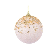 BOULE NOEL DECO ROSE AVEC DIAMANTS Ø8