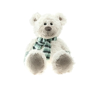 PELUCHE OURS BLANC ASSIS ECHARPE RAYE 39CM