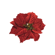 POINSETTIA VELOURS ROUGE SUR CLIP