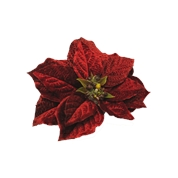 POINSETTIA VELOURS BORDEAUX SUR CLIP