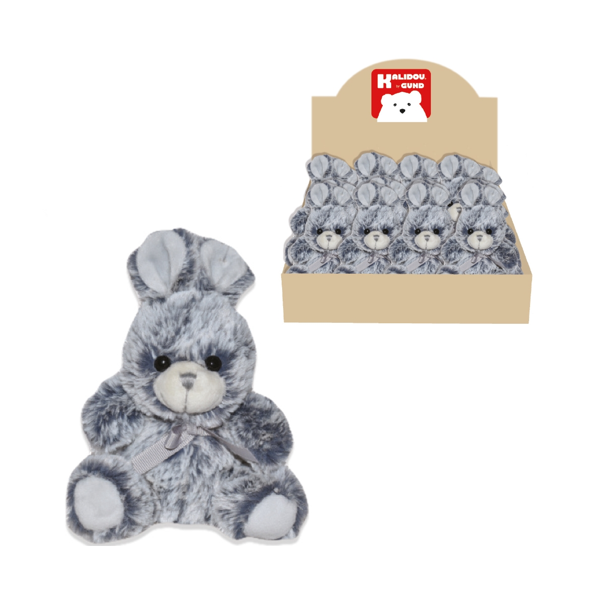 PELUCHE LAPIN GRIS CHINE 13CM