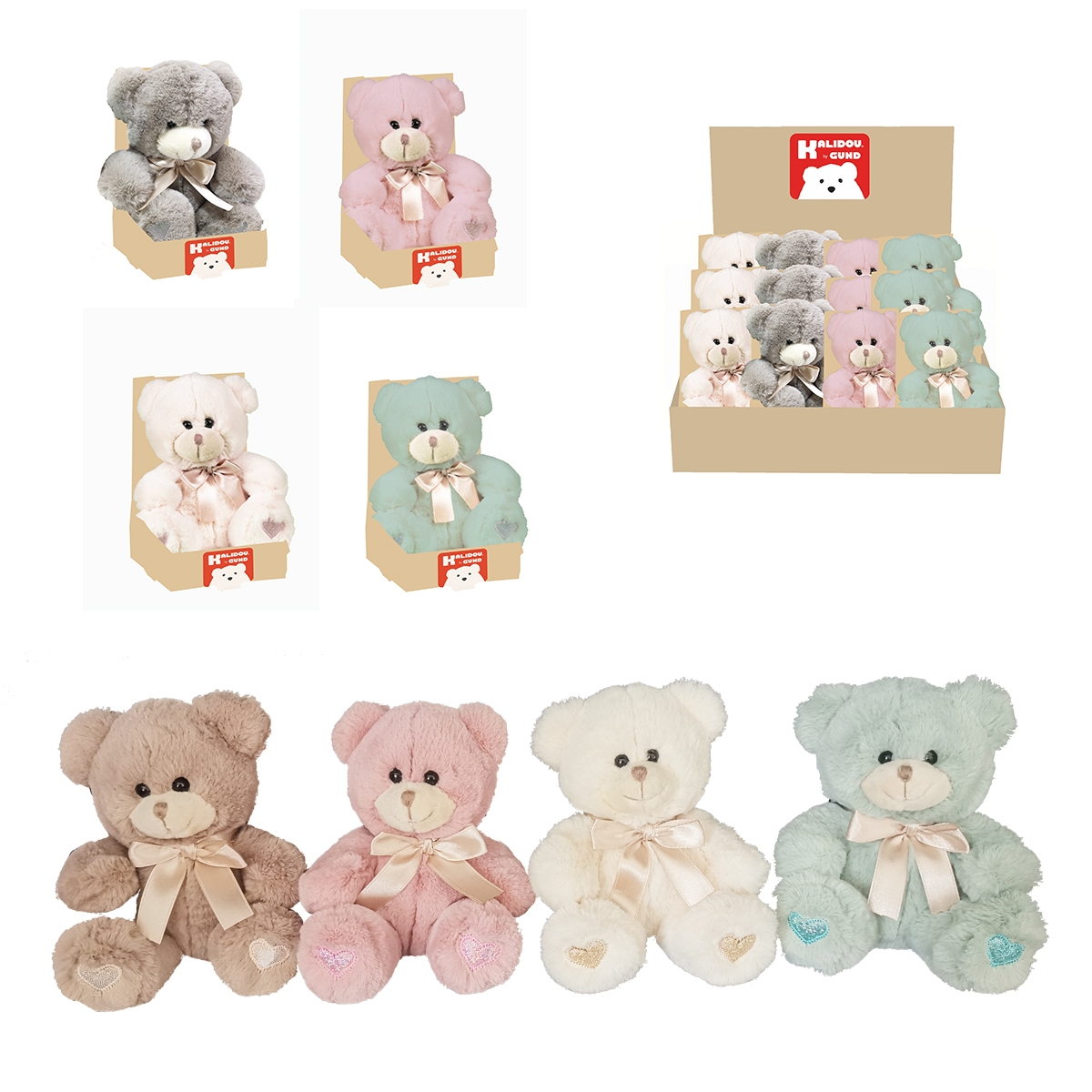 PELUCHE OURS PASTEL COEUR BRODE 15CM
